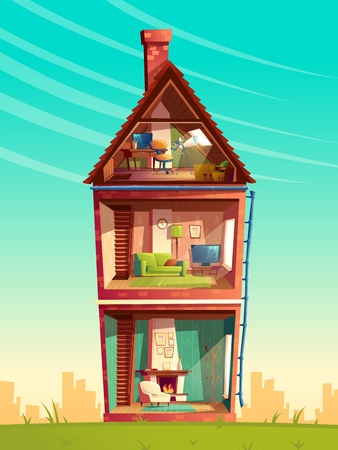 Vector three-story house interior cross section, cartoon multistorey private building with telescope at the attic, furniture and living room with fireplace, sofa, TV. Architecture background Illustration