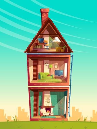 Sezione trasversale interna di casa a tre piani di vettore, edificio privato multipiano di cartone animato con telescopio in soffitta, mobili e soggiorno con camino, divano, TV. Sfondo di architettura