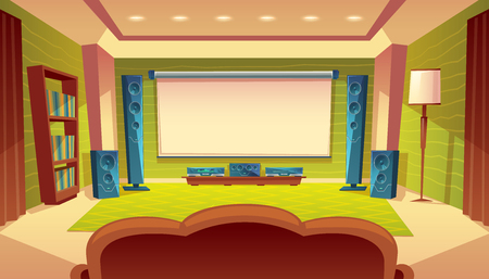 Home theatre interior cartoon illustration.