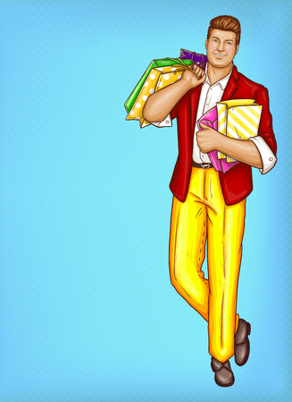 Vector pop art pretty fat man with shopping bags. Obese handsome character in suit, red jacket, yellow trousers, shoes. Fatty dandy with package isolated on blue background. Big man for poster, banner Imagens - 98414796