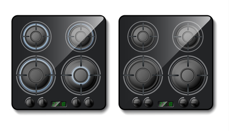 Vector 3d realistic gas stove. Black cooker top with burners with flame, hobs with fire. Smart domestic appliance, modern technology. Switched on or off household equipment. Ilustração