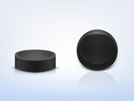 Vector 3d realistic black rubber puck to play ice hockey isolated on light background. Illustration