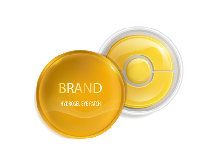 Vector realistic plastic round jar with set of patches for eyes, with gold and hydrogel isolated on background.
