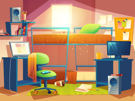 Vector cartoon illustration of small dorm room, dormitory interior inside, hostel bedroom. Illustration