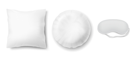 Vector realistic set with blindfold and two clean white pillows, square and round. Isolated on background. Objects for sweet dreams in bedroom, mock-up with blank cushions and mask for sleeping. Illustration