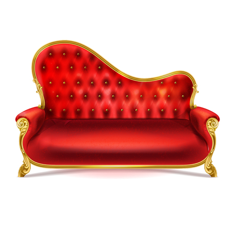 Vector realistic luxurious red leather, velvet or silk sofa with golden carved legs isolated on white background. Gilded antique royal couch in Victorian style. Interior concept, vintage settee. Illustration