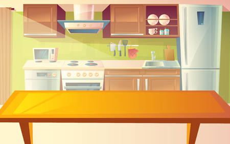 Vector cartoon illustration of cozy modern kitchen with dinner table and household appliances, fridge, stove, microwave, exhaust hood. Comfortable, clean dining-room, with tableware, interior inside Çizim