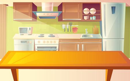 Vector Karikaturillustration der gemütlichen modernen Küche mit Abendtisch und Haushaltsgeräten, Kühlschrank, Ofen, Mikrowelle, Abzugshaube. Gemütliches, sauberes Esszimmer mit Geschirr, Innenausstattung Standard-Bild - 98731952