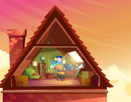 Illustration de dessin animé de vecteur de grenier, mansarde, grenier sous le toit du bâtiment pour l'hébergement ou le stockage. Dernier étage d'une maison privée, chambre pour observer le ciel avec des meubles, intérieur à l'intérieur Vecteurs