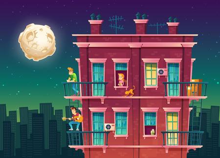 Vector mehrstöckige Wohnwohnung nachts, Nachbarschaft, Haus draußen mit Leutekonzept, privates Gebäude um Mitternacht, Vollmond über dem Schlafsaal, Herberge. Architektur im Cartoon-Stil. Vektorgrafik