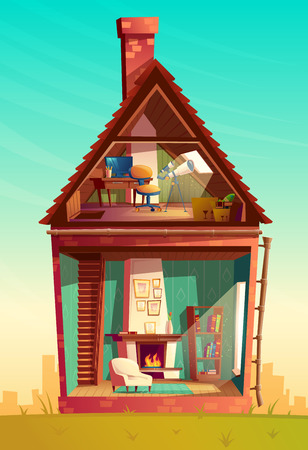 Vector house interior in section, cartoon observatory with telescope at the attic with furniture and living room with fireplace. Residential cozy room. Front view of building. Architecture background Illustration