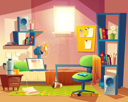 Vector small room with mess, cartoon bedroom, dormitory with furniture. Student, pupil cozy apartment with bed, laptop, armchair, carpet, bookshelf, loudspeakers, fan board Architecture background Vectores