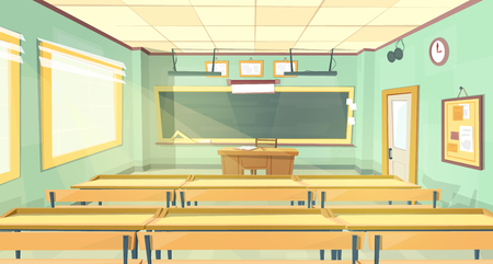 Vector cartoon background - back to college. Empty school classroom, interior inside, lecture hall. Education concept illustration, university training room with furniture, chalkboard, table, desks.