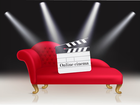 Online cinema concept illustration with red velvet couch and clapperboard on it, illuminated by beams of spotlights and a home movie theater abstract for advertising and announcements.