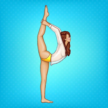 Vector pop art girl in transparent blouse and yellow panties doing gymnastics or yoga, stands in position on one leg and stretches her body. Young slim woman does strip-plastic or fitness training