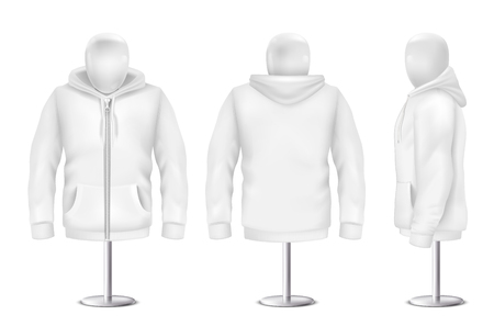 A Vector 3d realistic white hoodie side view of sweatshirt.
