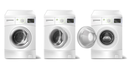 Vector set of 3d realistic washing machine with front-loader and smart display isolated on white background.