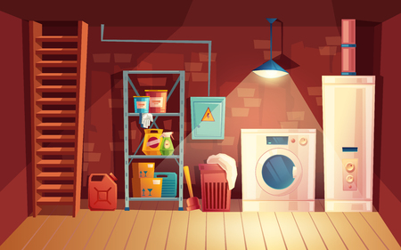 Vector cellar interior, laundry inside the basement in cartoon style. Storage with shelves, furniture, appliances - washing machine, heating system. Architecture background of storehouse