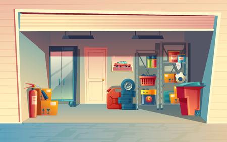 Vector cartoon illustration of garage interior, storage room with auto equipment.
