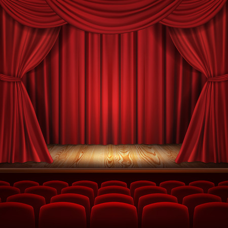 Theater vector concept, realistic luxurious red velvet curtains with theatre scarlet seats, classic scene background. Illustration for ceremony, opera, presentation, show, premiere