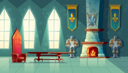 Salón del castillo de vector, interior del salón de baile real con trono, mesa, chimenea y armadura de caballero. Muebles de lujo en palacio medieval. Fondo de fantasía, cuento de hadas o juego Ilustración de vector
