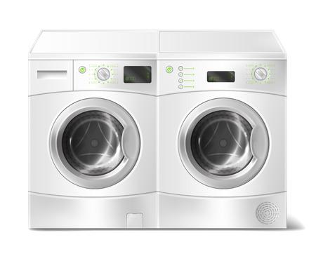Ilustración realista vector de lavadora y secadora de carga frontal blanca, interior vacío, con puerta cerrada aislada en el fondo. Electrodoméstico moderno para lavar la ropa sucia y secar la ropa.