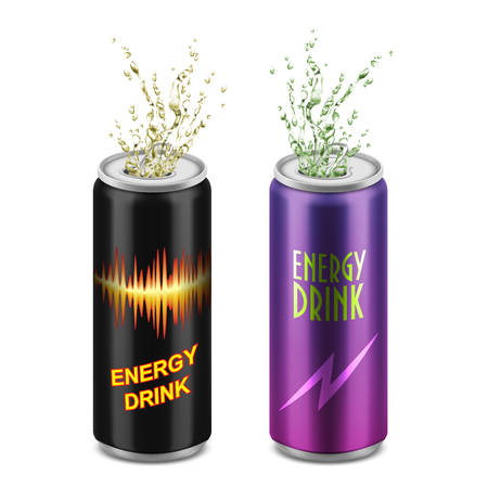 Vector set of two realistic aluminum cans with open lids and splashes isolated on background. Tin containers with energy soft drink, carbonated tonic, soda, alcohol beverage. Mockup for package design