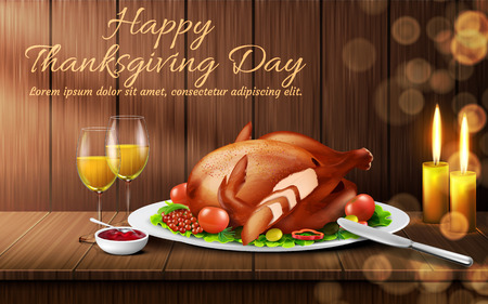 Happy Thanksgiving day vector background. Traditional holiday dinner, roasted turkey with vegetables, cranberry sauce, glasses of white wine and candles on wooden table. Template for greeting card