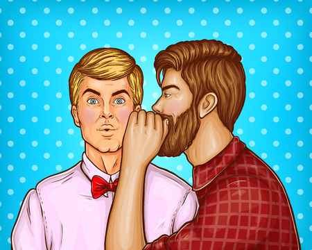 Vector pop art brown haired man with beard whispers about sales or secrets to the ear of surprised blonde guy. Shocked man in shirt isolated on blue dotted background Illustration