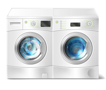 Ilustración realista vector de lavadora de carga frontal blanca con ropa sucia en el interior y secadora con puerta cerrada aislada sobre fondo. Electrodoméstico moderno para lavar y secar la ropa.