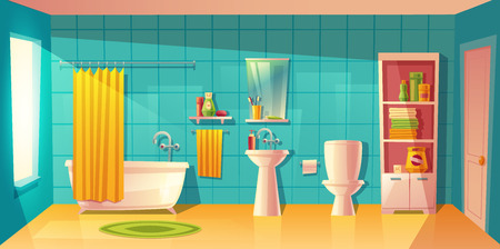 Vector bathroom interior with window. Room with furniture, bathtub and accessories. Shelves with washing gel, shampoo. Household background in cartoon style. Architecture decoration