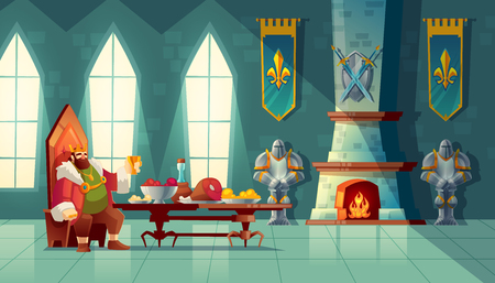 Vector castle hall with king eats lunch. Feast table with food, banquet party. Interior of royal ballroom with throne for luxury banket. Cartoon furniture in medieval palace Illustration