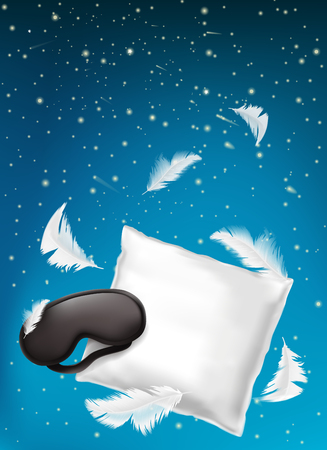 Vector 3d realistic poster, ad banner with white pillow, sleep mask and feathers isolated on blue night background. Mockup with soft cushion for comfortable sleep and sweet dreaming