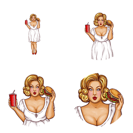 Vector pop art avatar of obese blonde woman with hamburger, drink. User icon of fat lady in chat, blog or networking social media for fast food advertising, promotion. Fatty inside the white circle