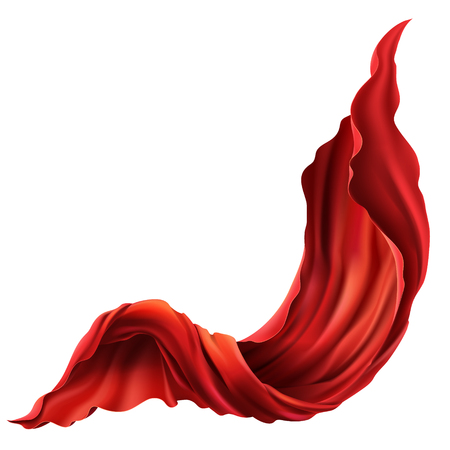 Vector 3d realistic flying red fabric. Flowing satin cloth isolated on white background. Abstract decorative scarlet velvet textile or silken flag
