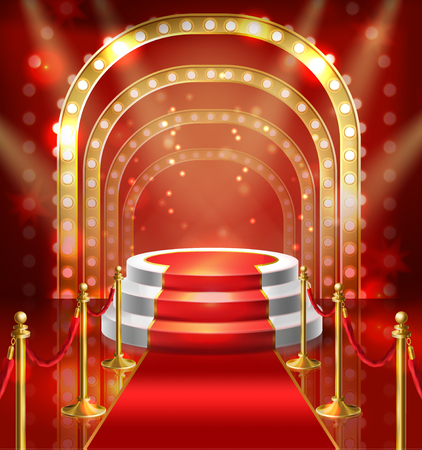 Vector illustration podium for show with red carpet. Stage with lamp illumination for stand up, performance or lecture. Public scene for speech of orator. Illuminated pulpit for conference.