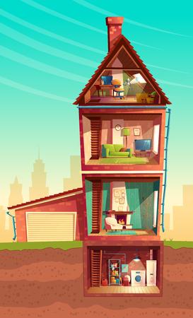 Vektor dreistöckiges Haus Interieur im Querschnitt mit Keller und Garage. Mehrstöckiges privates Gebäude der Karikatur. Dachboden, Möbel im Wohnzimmer, Sofa, Fernseher, Wäscherei im Keller. Architekturhintergrund Vektorgrafik