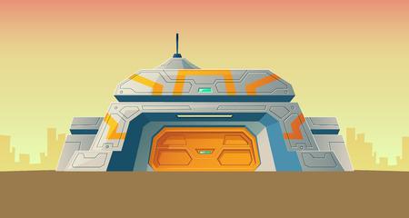 Bunker segreto nucleare di vettore del laboratorio scientifico per la creazione. Laboratorio isolato del fumetto, sede per esperimenti o ricerca tecnologica. Edificio di colonizzazione. Sfondo di architettura Vettoriali