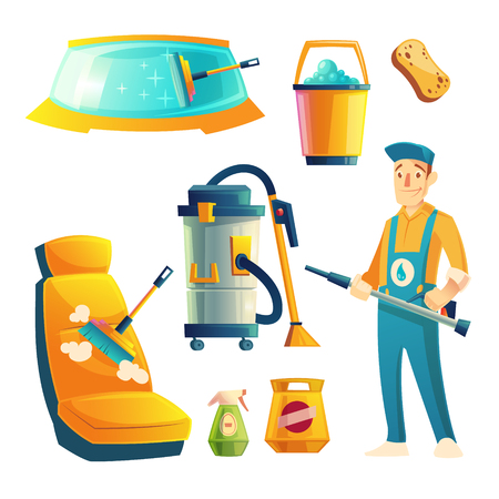 Vector set of manual car washing service with cartoon character. Automobile service with guy for cleaning transport by liquid detergent, brushes. Collection isolated on white background.