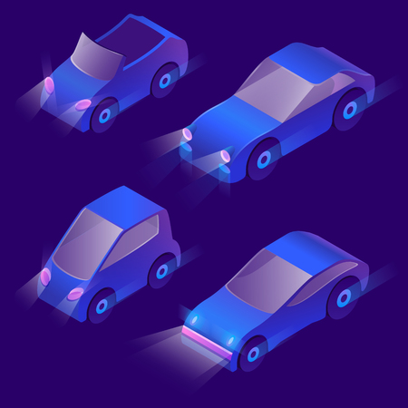 Vector set of isometric urban transportation at night with turned on headlights. Parking with private cars with headlamps isolated on dark background. Collection of automobiles in cartoon style