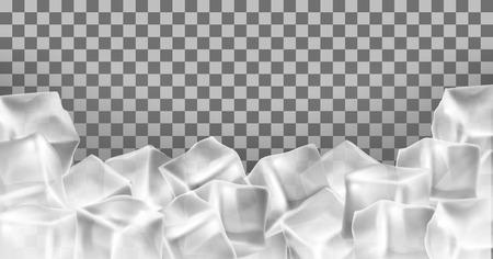 Vector 3d marco de cubitos de hielo realista, borde. Objetos congelados transparentes cuadrados. Bloques de escarcha aislados sobre fondo translúcido.