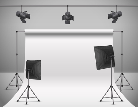Realistic vector illustration of empty photo studio with blank white screen, lamps, flash spotlights, reflectors on tripods. Concept background with modern equipment for professional photography.