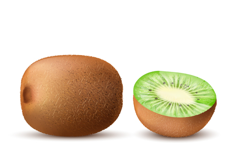 Realistic vector brown ripe kiwi, whole and half, isolated on background. Natural, exotic, tropical fruit with sweet taste. Ingredient for juices, jams, yogurts, tea, mock up for package, labels design.