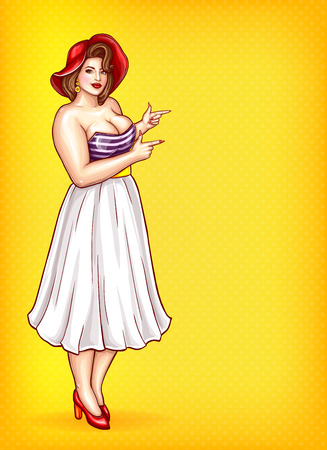 Overweight woman in striped blouse, red hat on yellow dotted background. Pop art plus size model with big pointing a finger at discounts, sale, vector fashion illustration.