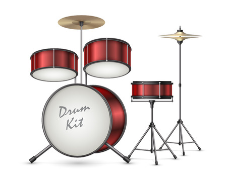 Drum kit realistic vector illustration