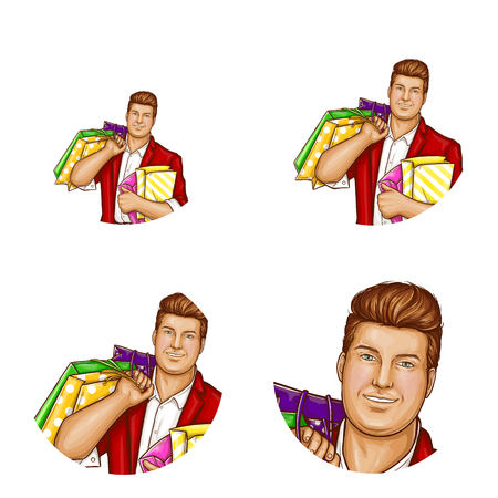 Vector pop art avatar of pretty fat man with shopping bags. Networking element with obese handsome character in suit, red jacket. Fatty dandy with package for chat, ,blog.