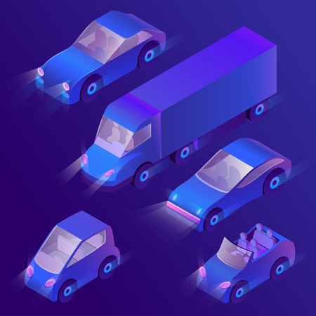 Vector set of isometric urban transportation at night with turned on headlights. Parking with ultra violet cars and truck with headlamps on dark background. Collection of automobiles in cartoon style