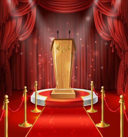 Vector illustration with wooden tribune with microphones, podium, red curtains and carpet. Stage for performance, lecture, scene for speech of orator. Illuminated pulpit for conference Ilustrace