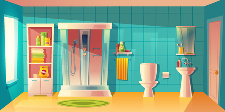 Vector bathroom interior with automatic shower cabin, washbasin. Room with toilet, accessories. Shelves with washing gel, shampoo. Household background in cartoon style. Architecture decoration Vettoriali