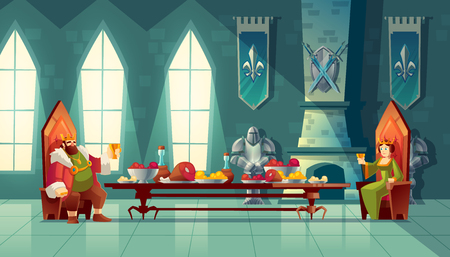 Vector castle hall with king and queen eat lunch. Feast table with food, banquet party. Interior of royal ballroom with throne for luxury banket. Cartoon furniture in medieval palace Ilustrace